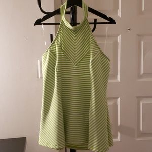 Lime and white halter top